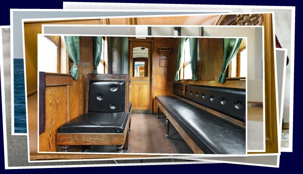 Antique black leather train seats